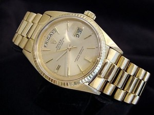 Rolex Mens Rolex Solid 18k Yellow Gold Day Date President Watch W Champagne Dial 1803