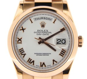 Rolex Mens Rolex 18k Everose Rose Gold Day Date President White Roman Style 118205