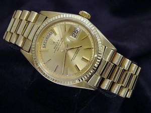 Rolex Mens Rolex Solid 18k Yellow Gold Day Date President Watch Champagne Stick 1803