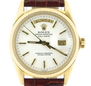 Rolex Rolex Solid 18k Yellow Gold Day-date President W White Dial Brown Strap 1803