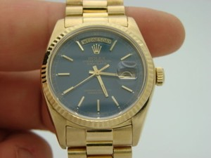 Rolex Mens Rolex Solid 18kt 18k Yellow Gold Day Date President Watch Wblue Dial 18038