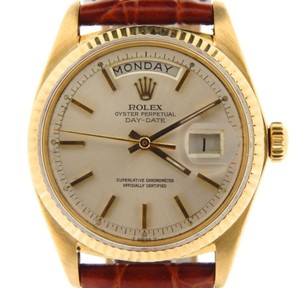 Rolex Men Rolex Solid 18kt 18k Yellow Gold Day-date President Silver Wbrown Band 1803