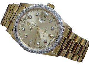 Rolex Rolex Solid 18kt 18k Yellow Gold Day Date President Wdiamond Dial Bezel 18038
