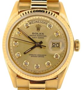 Rolex Men Rolex Solid 18k Yellow Gold Day Date President Wchampagne Diamond Dial 1803