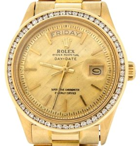 Rolex Mens Rolex Solid 18k Yellow Gold Day Date President W1.30ct Diamond Bezel 1803