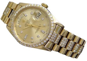 Rolex Mens Rolex Solid 18k Yellow Gold Day-date President Champagne Full Diamond 18038