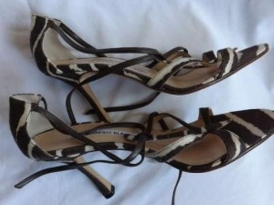 Manolo Blahnik Brown and Cream Zebra Print Sandals