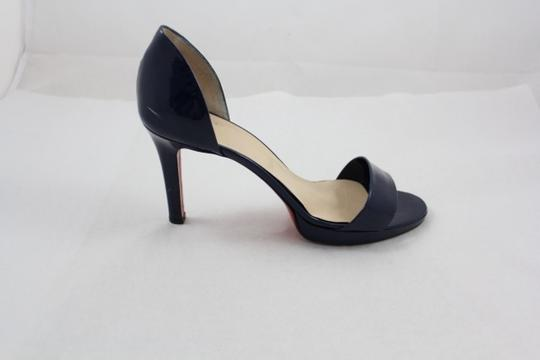 Christian Louboutin Blue Patent Leather Open Toe Navy Sandals
