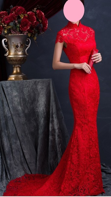 Item - Red Lace Mermaid Wedding Dress Size 4 (S)