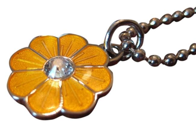 """Item - Yellow Enamel 18"""" Sterling Chain Flower Necklace"""