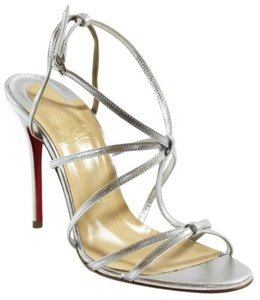 Christian Louboutin Youpiyou Strappy High Heel Sandals Silver Pumps
