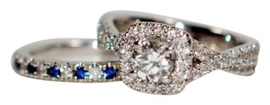 Vera Wang Bridal Vera Wang Love 1.40tcw Diamond & Sapphire 14kt White Gold Wedding Set