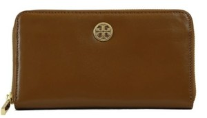 Tory Burch Tory Burch Dena Zip Around Continental Leather Wallet Brown