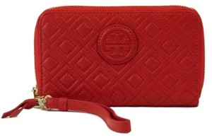 Tory Burch Tory Burch Marion Quilted Leather Smartphone Wristlet Red