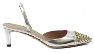 Gucci 370443 Studded Slingback Leather Silver Pumps