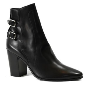 Saint Laurent Buckle Ankle Black Boots