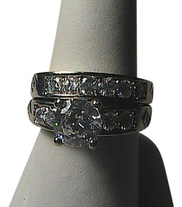 Unknown 14k White Gold Filled 2pcs White Topaz Band Ring