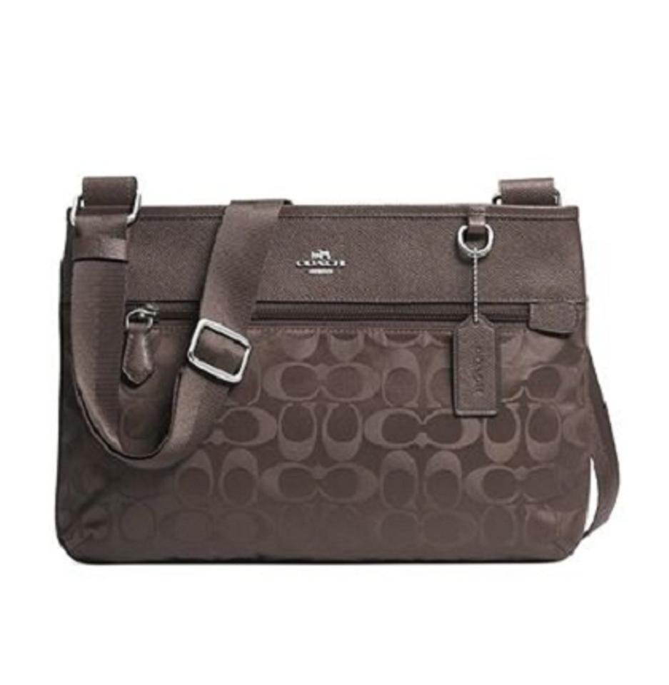 5a3fa96ec Coach 33483 Spencer Silver/Mink (Brown) Signature Nylon with Leather ...