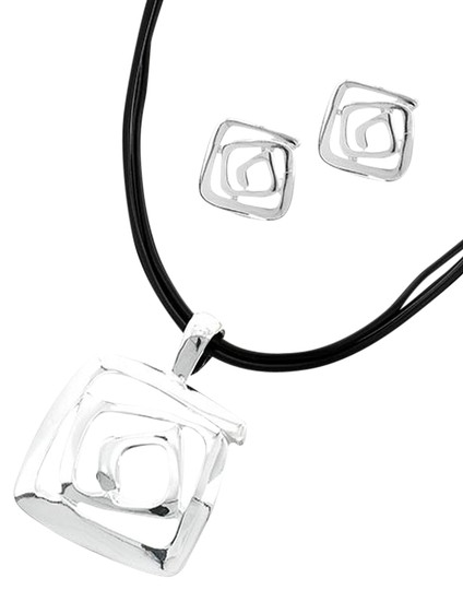 ICON Silvertone Black Cord Pendant Necklace & Post Earring Set