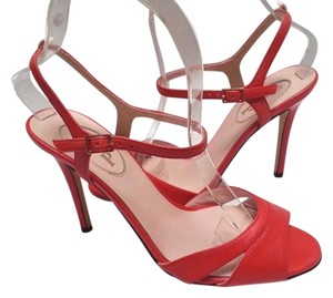 SJP Nappa Leather Ankle-strap Buckle Closure Adjustable Strap Coral Pumps