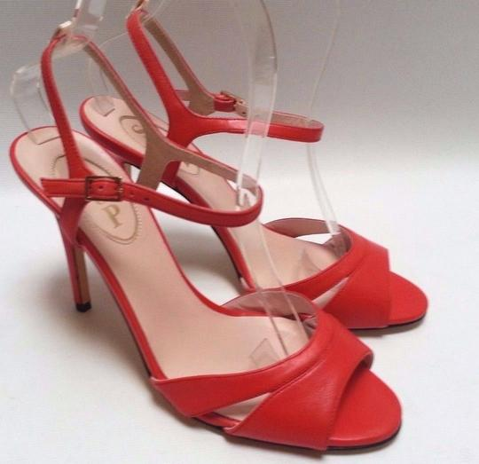 SJP Nappa Leather Ankle-strap Buckle Closure Adjustable Strap Coral Pumps Image 3