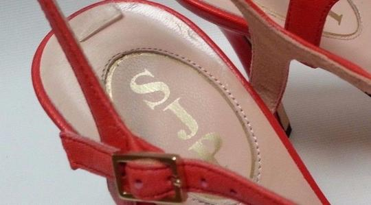 SJP Nappa Leather Ankle-strap Buckle Closure Adjustable Strap Coral Pumps Image 5