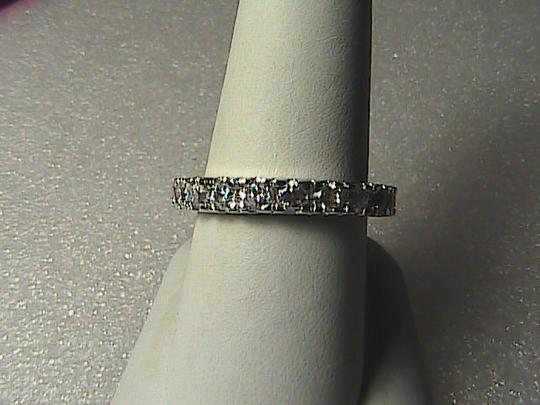Unknown 14k White Gold Filled White Topaz Band Ring Image 1