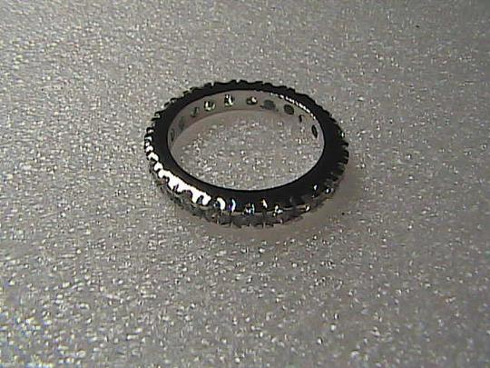 Unknown 14k White Gold Filled White Topaz Band Ring Image 4