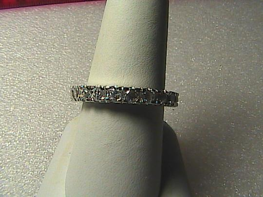 Unknown 14k White Gold Filled White Topaz Band Ring Image 6