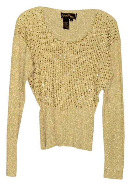 Item - Vintage Ribbed Stretch Beaded Pearls Large Gold Sweater