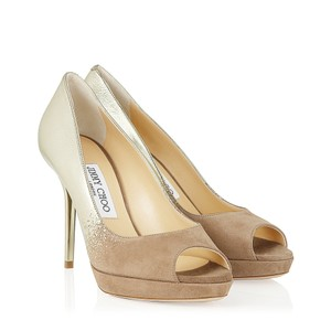 Jimmy Choo Limited Edition Champagne, gold, nude, beige, taupe Platforms