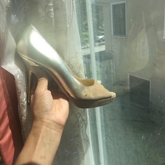 Jimmy Choo Limited Edition Champagne, gold, nude, beige, taupe Platforms Image 10