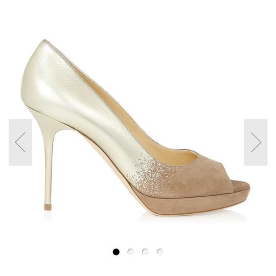 Jimmy Choo Limited Edition Champagne, gold, nude, beige, taupe Platforms Image 6