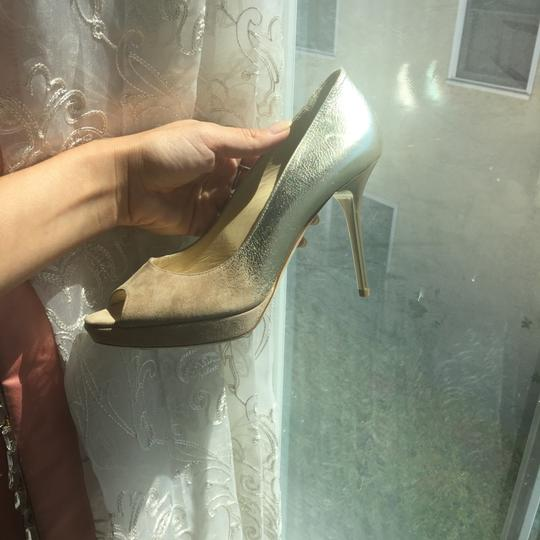 Jimmy Choo Limited Edition Champagne, gold, nude, beige, taupe Platforms Image 8
