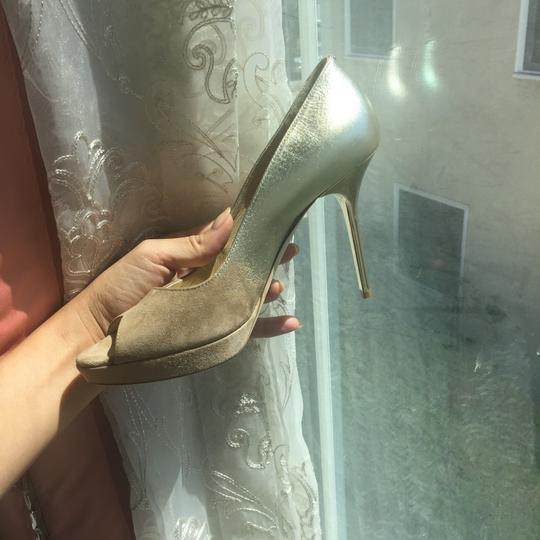 Jimmy Choo Limited Edition Champagne, gold, nude, beige, taupe Platforms Image 9