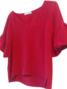 Geren Ford Silk Cropped Hi Lo Top red