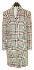 Elie Tahari by Arthur S. Levine Plaid Burberry Red Trench Coat