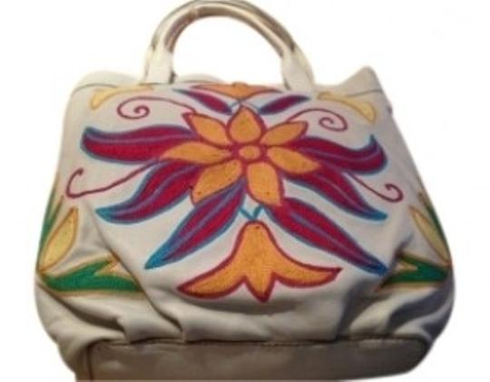 Lucky Brand Tote in Light Beige (off-white) with Multi-color Floral Pa