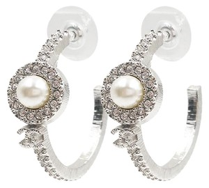 Chanel Chanel Brand New Rare 2016 Silver CC Pearl Crystal Hoop Earrings
