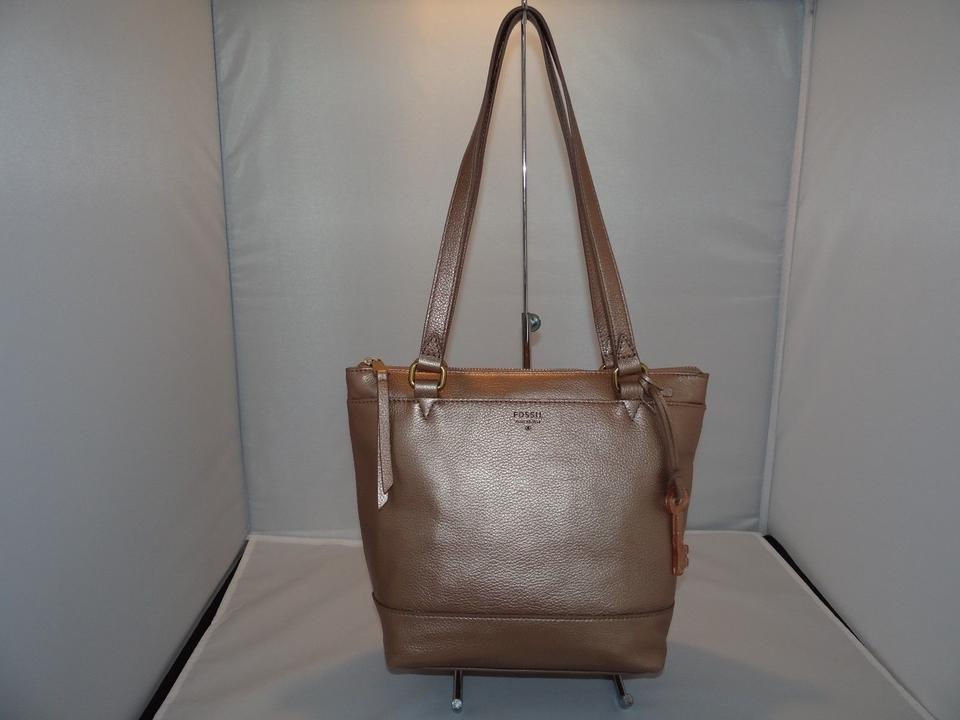 2b47d5f488f Fossil Gift Top Zip Shopper Tote In Pale Rose Metallic Leather 158.00