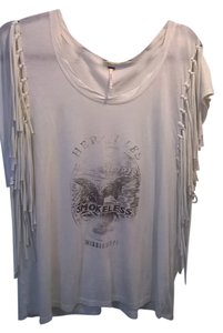 Free People Super Soft Fabric Fringe T Shirt Cream