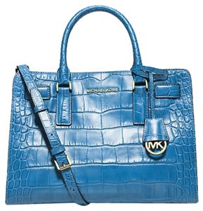 Michael Kors Leather Satchel in Sky