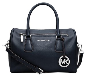 Michael Kors Leather Satchel in Navy