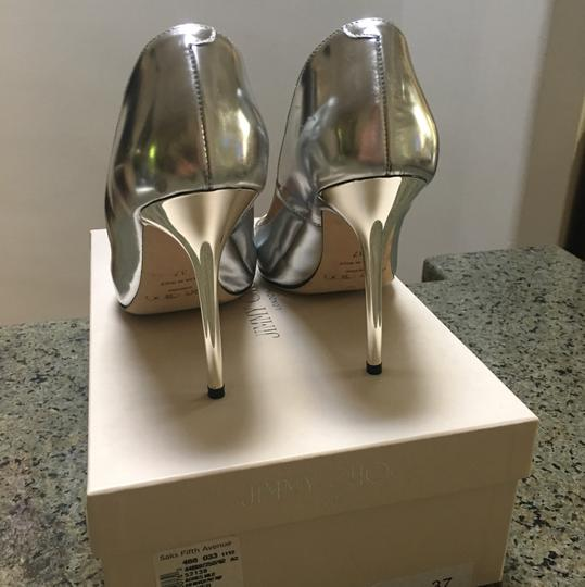 """Jimmy Choo Mirror Leather-silver 4"""" Stilleto Heels Pointed Made In Italy Silver Pumps"""