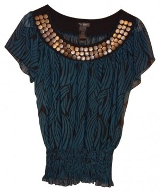 Preload https://item1.tradesy.com/images/bisou-bisou-turquoise-sheer-zebra-print-blouse-size-4-s-18265-0-0.jpg?width=400&height=650