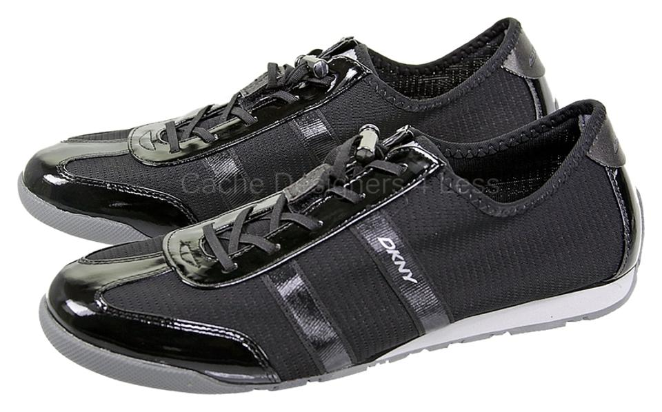 42c0e550295 DKNY Black Foundation Patent Lace Up Sneakers Loafer Sneakers. Size  US 8  Regular (M ...