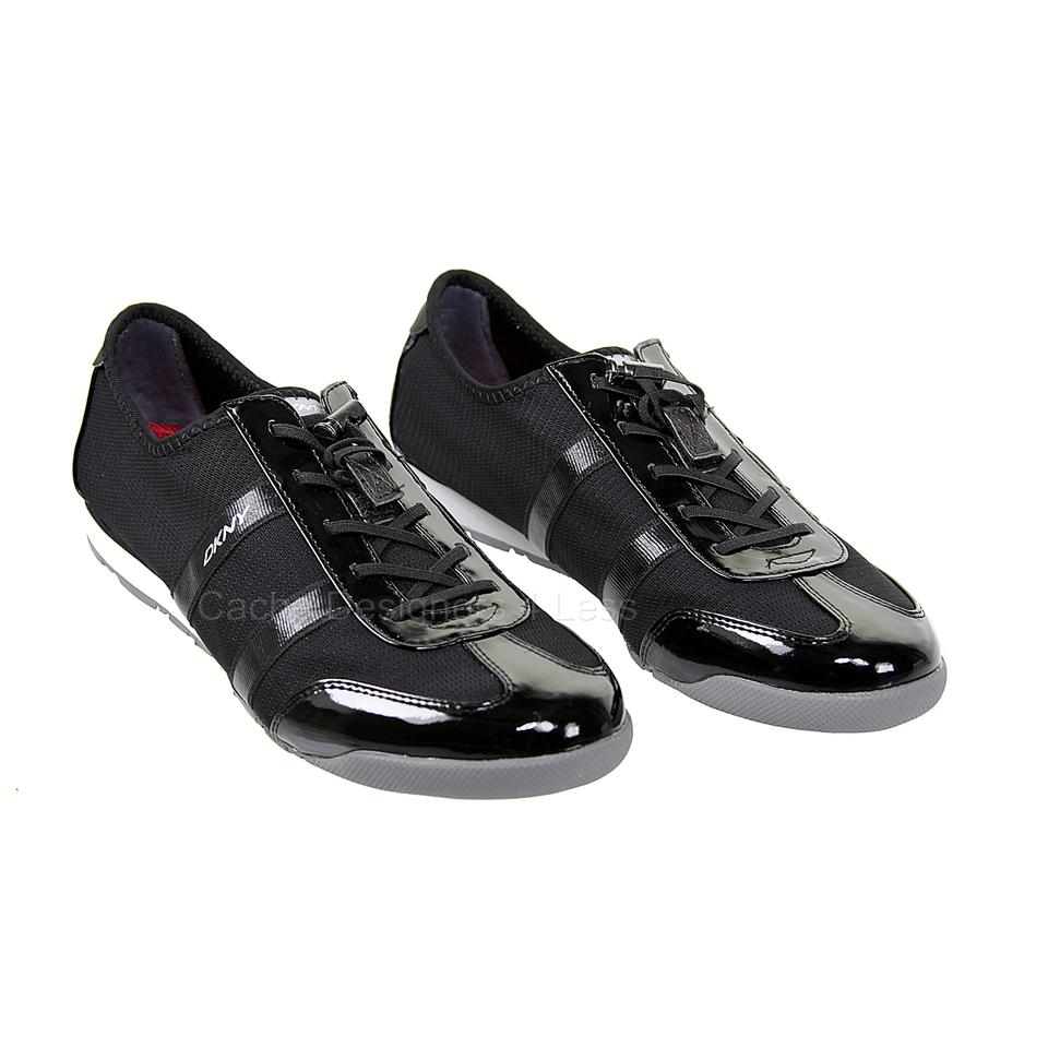 6a7e5ee5bc1 DKNY Black Foundation Patent Lace Up Sneakers Loafer Sneakers Size ...