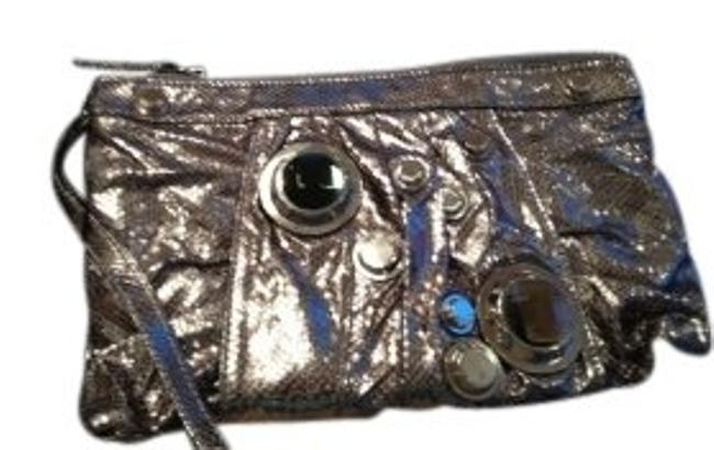 Gustto Doma Medium Silver Metallic with Silver/Glass Hardware Leather (Snakeskin Pattern) Clutch Gustto Doma Medium Silver Metallic with Silver/Glass Hardware Leather (Snakeskin Pattern) Clutch Image 1