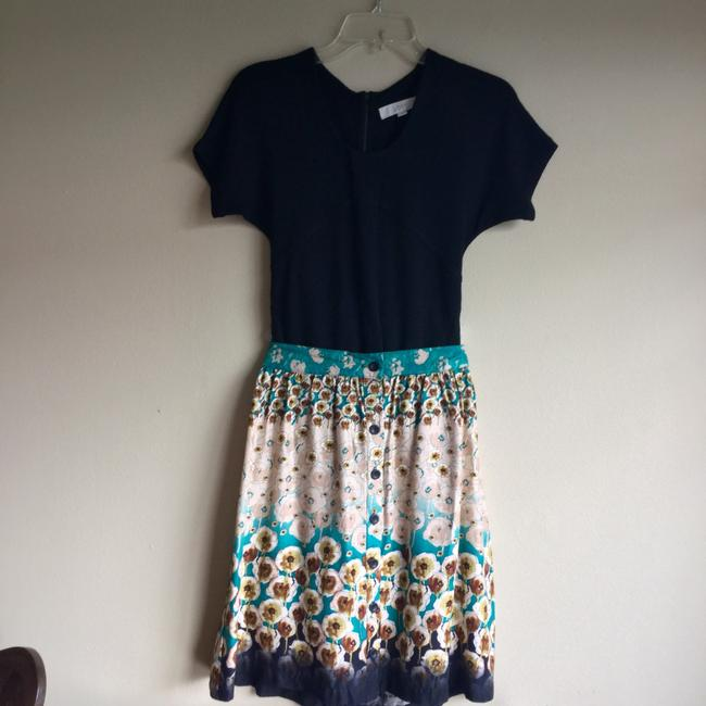 Lily White Black Floral Tan Skirt Blue Image 1