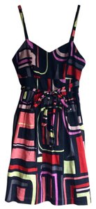 Kensie short dress Black Neon Geometric Sweetheart A-line on Tradesy